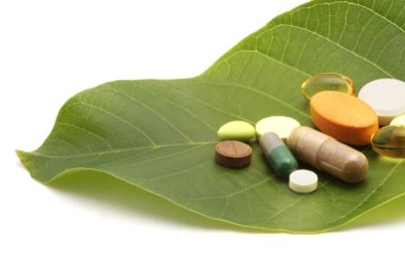 Grönt blad med glutamin och vitaminer
