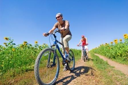 Två som cyklar en solig dag