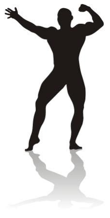 Bild som visar profilen av en vältränad man